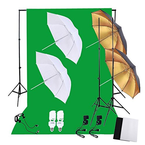 Gowe Fotografie Foto Beleuchtung Set mit 45W 5500K Tageslicht Studio Leuchtmittel Licht steht Hintergrund weich Reflexschirme