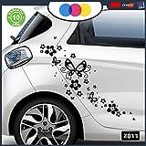 ADESIVI PER AUTO - FIORI E FARFALLE- AUTO MACCHINA - NOVITà!! auto moto camper, stickers, decal (NERO)