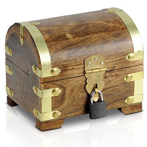 Brynnberg Scrigno del tesoro con lucchetto vintage Bauletto stile antico per accessori gioielli oggetti di valore, Cassaforte in legno, Idea regalo decorativa 14x12x12cm