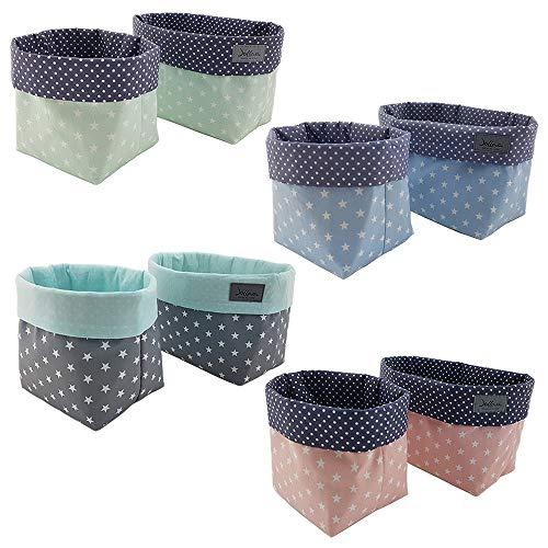 Utensilo Stoffkörbchen Aufbewahrungsbox Wickeltisch Korb aus Baumwolle 2er Set Stern rosa blau grau mint NEU SmukkeDesign (Stern Grau)