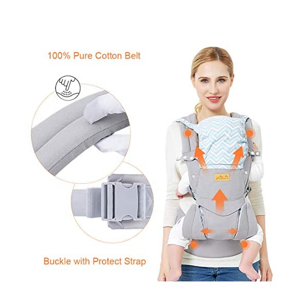 """Viedouce Baby Carrier Ergonomic/Pure Cotton More Lightweight and Breathable/Multiposition: Dorsal and Ventral/Adjustable Headrest/for Newborn and Toddler 3 to 48 Month (3.5 to 20 kg) Viedouce 【Pure Cotton】- All our baby carriers are made of high quality fabric and free from harmful substances. The fabric is breathable, skin-friendly and soft, it is made of premium natural pure cotton to to keep baby's soft skin safe and comfort baby wearing in four seasons. Adequate safety tests ensure the soft fabrics gently hug your baby's back, legs and hips, and provide good support. 【Ergonomic Design】- Our ergonomic backpack carrier makes it easy for you to give your child the closeness and security they need. You can see and feel your baby's position and the natural C curve of their back.Ergonomic Butterfly adjustable seat and leg openings facilitates the thighs, knees and lower legs to be correctly placed and supported in an M shape that prevents """"Developmental Hip Dysplasia"""". 【Waist Belt & Shoulder Straps】- Upgraded wide waist belt and shoulder straps padded with soft material eases pressure on the back and shoulder, releasesing burden in a large extent when you carry your baby. Luxuriously thick and soft padding in the shoulder straps give you superior carrying comfort and prevent straps from slipping off. Adjustable shoulder straps are suitable for moms and dads of all shapes and sizes. You won't feel tired while carrying baby for a long time. 6"""