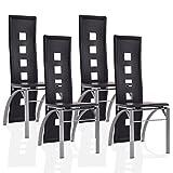 COSTWAY 4er Set Esszimmerstühle Essgruppe Sitzgruppe Küchenstühle Stuhlgruppe Stühle Hochlehner Farbwahl (schwarz)