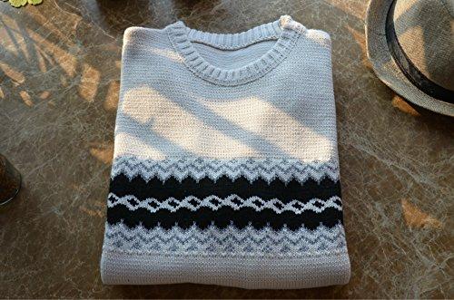 BOMOVO Herren Rundhals Strickpullover Pullover Sweatshirt Weiß
