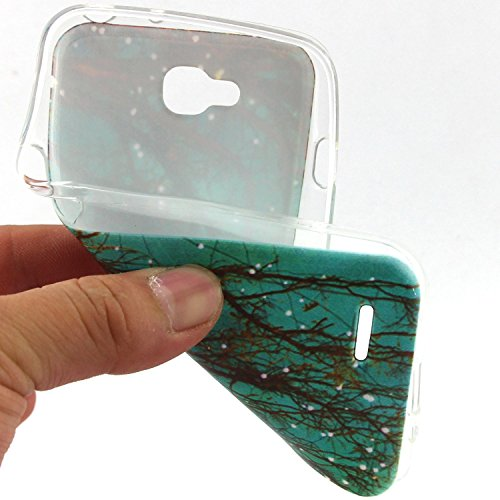 iPhone 4 Silicone Case,iPhone 4S Coque - Felfy Ultra Slim Soft Gel Flexible TPU Case Cover Coque Housse Beaux Motifs Peint Protection Case Cover Etui (Renard Mignon) + 1 x Noir Stylus + 1 x Screen Pro Arbre Fluorescence