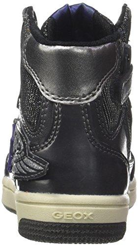 Geox Jr Creamy A, Sneaker a Collo Alto Bambina Argento (Dk Silver/violet)