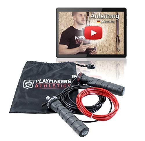 Playmakers Speed Rope Springseil mit Videoguide | Rutschfreie Griffe, Professionelles Kugellager, 2 verstellbare Stahlseile | Ideal für Seilspringen Fitness, Crossfit, Boxen, Outdoor Training