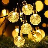 Solarne lampki choinkowe do ogrodu, OxyLED 17 stóp 30 LED IP65 wodoodporne kryształowe kule na zewnątrz sznur świateł, świetn