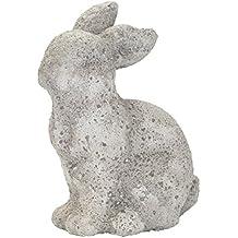 beige Osterdekoration 30cm Dekofigur Hase Terrakotta grau