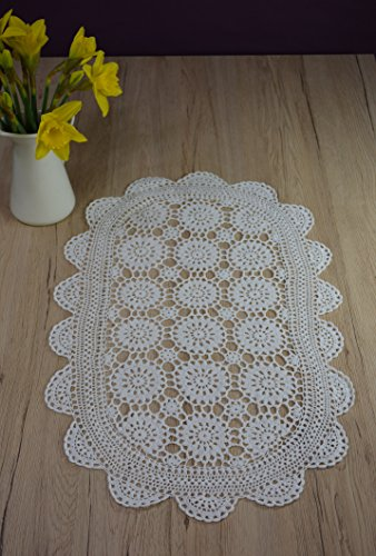 Haute Qualité plafond Crochet napperons nappe main vollhäkel Napperon Lave-vaisselle Lich Maison de Campagne Nostalgie à la main 100% coton 40 x 60 cm ovale Blanc
