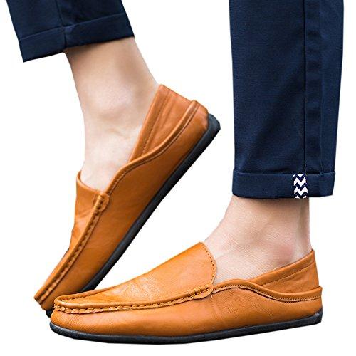 Hzjundasi Hommes Hiver Pantoufles Mocassins Flat Chaussures Bateau Doux Doublés de Fourrure Slippers Jaune 2