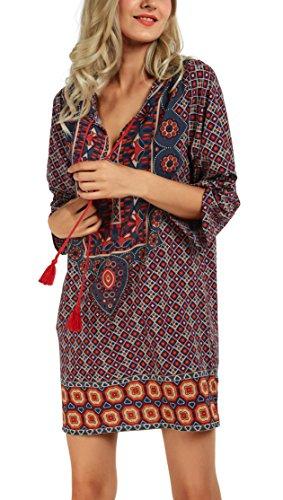 Pattern-damen-top (Urbancoco Damen Vintage Bohemian Strandtunika Sommerkleid Tunikakleid Bluse (XXL, Pattern J))