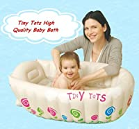 High density vinyl cream inflatable bath tub suit boys and girls, hot water warning systerm for easy controlling the comfortable temperature, Protuberant design on the bottom to avoid sliding, Repair patch included, Size after inflation 90cm ...