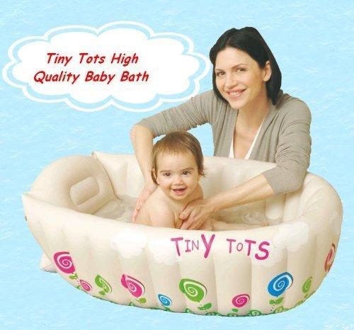 Bañera hinchable infantil Tiny Tots para viajes, color crema