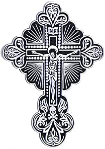 """8""""x11.5"""" Big Ecusson brode Ecussons Imprimes patch INRI Jesus King Of The Jew Cross Chiristian Rider Biker Tatoo back Ecusson brode Ecussons Imprimes patch Sew Iron on Embroidered"""