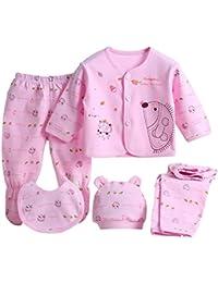ESHOO 0–3M bebé recién nacido algodón gorro de Tops pantalones babero 5pcs Set Outfit ropa
