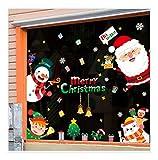 QTZJYLW Weihnachten Fensteraufkleber Niedlichen Cartoon Santa Schneemann Muster Abnehmbare Aufkleber Aufkleber Für Store Home Decor