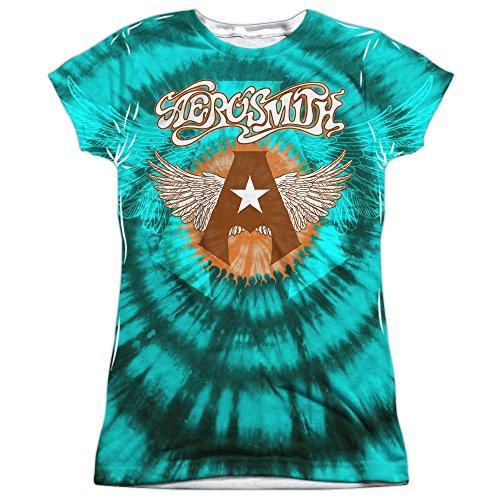 Aerosmith Tie-dye (front zurück drucken) sublimation shirt für Damen Groß Weiß (Dye Tie Junior Größe)