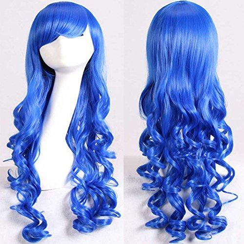 Morbuy Damen Perücke Kunsthaar Lang Gelockt Welle Wigs Sexy lange gewellte geschichteten Cosplay Requisiten(Mehrere Farben) (blau) (Cleopatra Halloween Kostüm Plus Size)