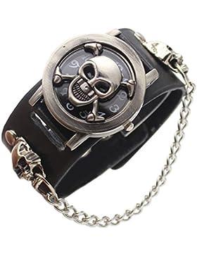 XLORDX Uhr Rock skull Punk Still Leder Quarz Uhr Herrenuhr Armbanduhr Kette Damen Sportuhr Schwarz