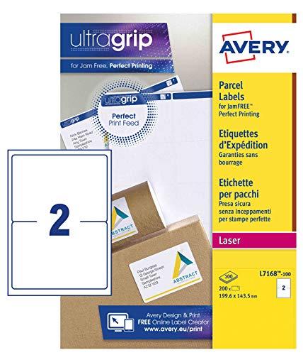 Avery L7168-100 Etichette per indirizzi per pacchi, 2 Etichette per Foglio, 100 Fogli, 99.6 x 143.5, Bianco