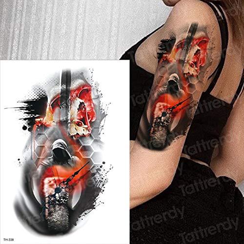 tzxdbh Zucker Schädel Tattoo Red Fire Schädel Tattoo Horror Uhr Designs temporäre Tätowierung Mädchen Männer Arm Körper malen mexikanischen Tag