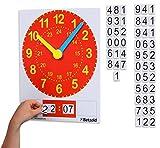 Betzold 82181 - Tafel-Uhr magnetisch, analoge und digitale Zeitdarstellung, inkl. magnetischen Zahlen - Kinder Schüler Schule Unterricht Uhr lernen Uhrzeit lesen ablesen