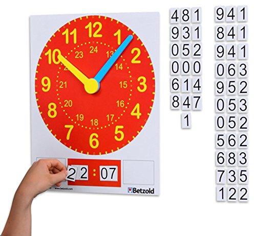 Betzold Magnetische Tafeluhr, analoge und digitale Zeitdarstellung, inkl. magnetischen Zahlen - Kinder Schüler Schule Unterricht Uhr lernen Uhrzeit lesen ablesen