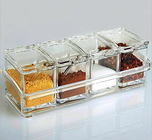 Asentechuk® 4 Grille Pot en acrylique Boîte de cuisine condiment Box épices Boîte de rangement avec couvercle Cuillère de cuisine de fournitures