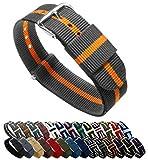 BARTON Watch Bands Uhrenarmband, Farb- und Längenauswahl (18 mm, 20 mm, 22 mm oder 24 mm), Bänder aus ballistischem Nylon, unisex, SP20, Smoke/Pumpkin, 20mm - Standard (10
