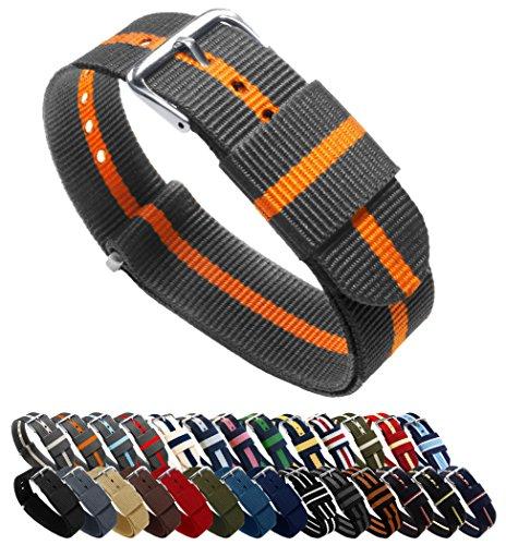 BARTON Watch Bands Uhrenarmband, Farb- und Längenauswahl (18 mm, 20 mm, 22 mm oder 24 mm), Bänder aus ballistischem Nylon, unisex, SP22, Smoke/Pumpkin, 22mm - Standard (10