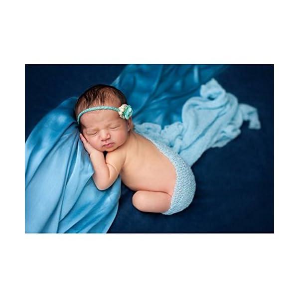 ROSENICE Manta Envolvente a Mano de Bebé de Encaje para Fotografía Prop Stretch Wrap de Recién Nacido