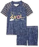 Playshoes Jungen Badeshorts 2-teiliges Bade-Set AHOI mit UV-Schutz, Blau (Jeansblau 3), 122 (Herstellergröße: 122/128)