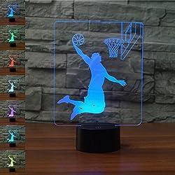 3D Baloncesto ilusión Optica Lámpara Luz Nocturna 7 Colores Cambiantes Touch Switch USB de Suministro de Energía Juguetes Decoración Navidad Cumpleaños Regalo