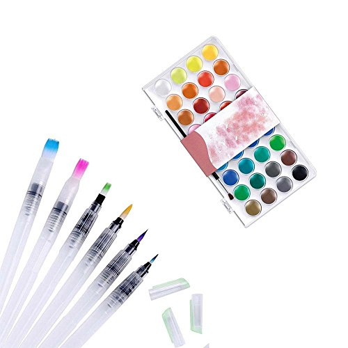 TOPmore 6Pcs Wasserpinsel Wasser Pinselset + 36 Farben Aquarell Malen Wasserfarben Set (6Set Pen Brush+Pigment)