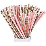 eBoot 100 Pack Biodegradable Paper Straw for Birthdays, Weddings, Baby Showers, Celebrations and Parties, Gold and Pink