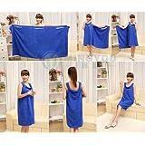 Gono Sexy mujeres Lady viaje Body Wrap albornoz de ducha de microfibra absorbente toalla de baño vestido, azul real, talla única