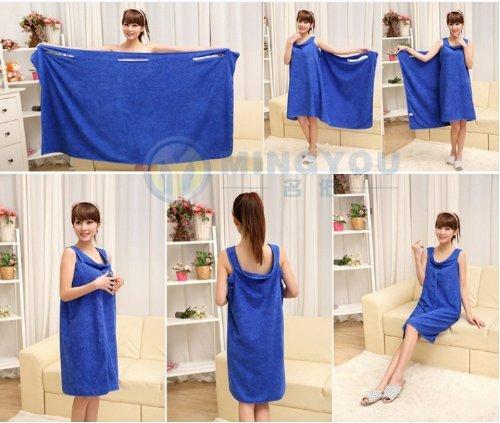Gono Sexy Frauen Lady Travel Body Wrap Handtuch saugfähig Mikrofaser Dusche Bad Kleid Bademantel, königsblau, Einheitsgröße