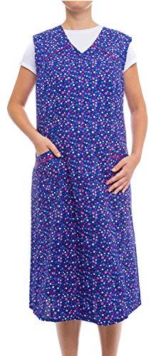Tobeni Damen Kittelschürze lang mit Reissverschluss und Taschen ohne Arm 100% Baumwolle Farbe Design 31 Grösse 60 -