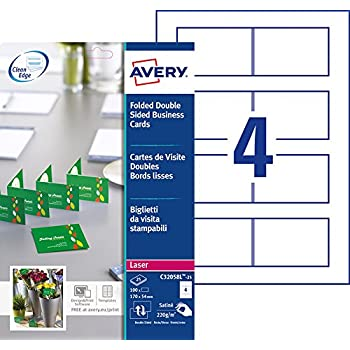 Avery 100 Cartes De Visite Doubles Pliables Bords Lisses 220g