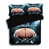 Cnspin 3D Soft Comfort Bettwäsche Schlafzimmer Basketball Print Bettbezüge Mit Kissenbezüge 3 Teilige Für Kinder Teen Geschenk, A, 173Cmx218Cm