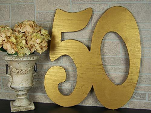 istiWood 50th Anniversary Gästebuch Alternative Hochzeit für Eltern 50. Geburtstag Party Dekorationen Große Holzzahlen Schild