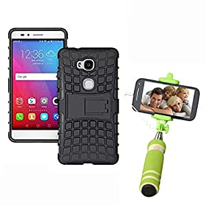 Hard Dual Tough Military Grade Defender Series Bumper back case with Flip Kick Stand for Huaweai Honour 5X + Mini Aux Wired Selfie Stick Compatible for all Mobiles Phones by Carla Store.