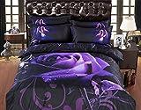 Descrizione: Il design di moda aggiunge alla tua camera da letto romantica di lusso. Informazioni dettagliate: Set di copripiumino: 1 copripiumino 260cm x 230cm(102x90 pollici), 1 fogli piatti 280cm x 250cm(110x98 pollici), 4 pattini cuscini 48cm x 7...