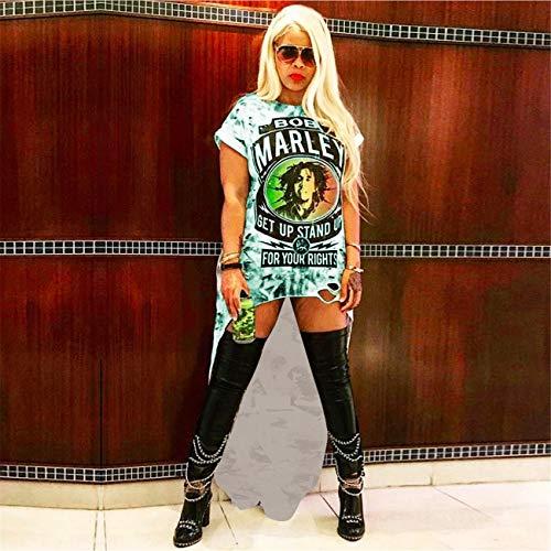 Womens Short Sleeves Print Back Long Clubwear Casual Rock Mini Shirt Dresses Green L (Peplum One Piece Swimsuit)