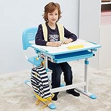 Escritorio para niños ergonómica mesa inclinable Silla de mesa ajustable para niños con cajón GRATIS Timmy Tigre - Mini (Azúl)