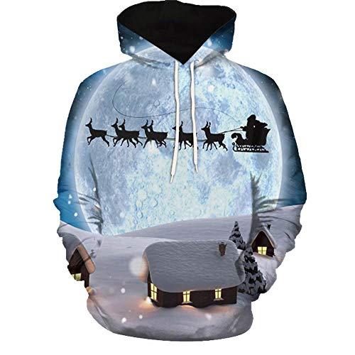 SEWORLD Weihnachten Vintage Christmas Männer Frauen Modus 3D Weihnachten Drucken Langarm Paare Hoodies Top Bluse Shirts(Mehrfarbig3,EU-48/CN-5XL)