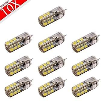 10X G4, 3w 24 SMD 2835 LED ampoule lampe DC12V LED ampoule LED ampoule G4 12V de projecteur à lampe en cristal G4 Super Bright de 260LM LED blanc chaud