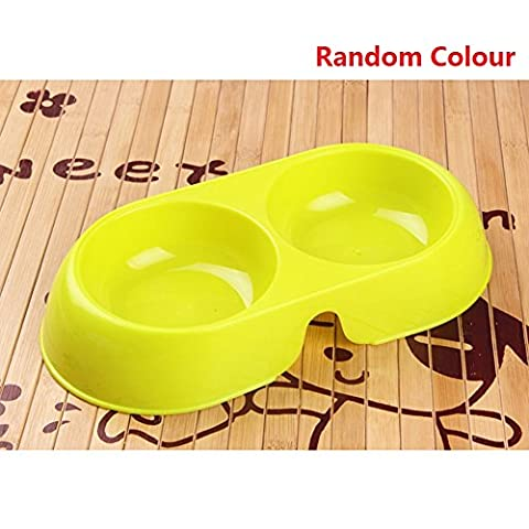 DAYNECETY Cat Dog Feeder Bowl Double Pet Food Dish Water Bowl Twin Dual Plastic Crate Dinner Feeding Food Storage Pet Tableware Candy Small Size Random (Random Candy