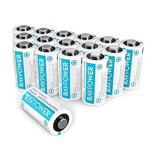 Preisvergleich Produktbild RAVPower CR123A 3 V Lithium-Batterien, 16er-Pack, 1500 mAh, Nicht wiederaufladbar, mit 10 Jahren Haltbarkeit, für Arlo Kameras, Polaroid, Taschenlampe und mehr, Weiß