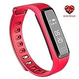 Eignungs-Armbanduhr für Männer / Frauen, Eignungs-Verfolger-Tätigkeits-Verfolger mit Schlaf-Überwachung, IP67 imprägniern 0.96 OLED Bluetooth-Pedometer-intelligente Uhr für iOS / Android (Rot)